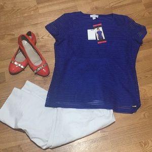 Calvin Klein Blue Sheer (Lined) Shirt